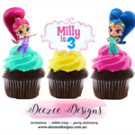 Shimmer & Shine Edible Wafer Stand-Up Cupcake Toppers - Set of 16