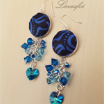 Blue Sapphire, Black Earring - Batik jewellery - Swarovski - E018