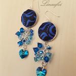 Blue Sapphire, Black Earring - Batik jewellery - Swarovski - Sterling silver