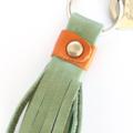 Freya leather tassel key ring: Dusty Green and Orange