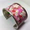 Bracelet Cuff - Pink Kimono Fabric - FREE POSTAGE