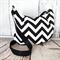 Hobo Bag with Zipper Closure & Cross Body Strap in Black & White Chevron Fabric