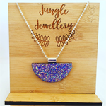 Necklace - Half Moon Glitzy Lilac