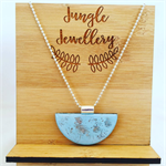 Necklace - Half Moon Smashed Metallic Sky Blue
