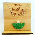 Necklace - Half Moon Green Dreams