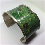 Bangle Cuff - Green Leafy Fabric - FREE POSTAGE