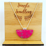 Necklace - Half Moon Smashed Metallic Pink