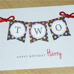 Boys 2nd Birthday card - 3 styles - TWO - handmade card