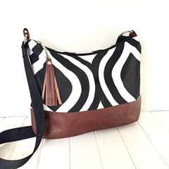 Hobo Bag with Cross Body Strap in Black & White Fabric with Brown Leather
