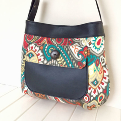 Handbag, Faux Leather & Fabric Bag, Thistle Pocket Tote Bag, Vegan Bag