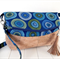 Fold Over Handbag/Cross Body Bag with Natural Cork and Blue Circle Fabric