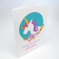 Birthday Card Girl, Unicorn Head with Flowers, Unicorn Card, HBC248