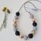 Textured Statement Necklace - Grey/Black