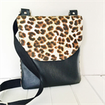 Cross Body Bag, Faux Leather & Fabric Bag, Leopard Print Bag, Pouch