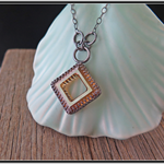 COPPER DIAMOND, STERLING SILVER & SWAROVSKI CRYSTAL NECKLACE