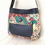 Handbag, Faux Leather & Fabric Bag, Thistle Pocket Tote Bag, Vegan Bag