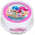 Shimmer & Shine Personalised Round Edible Icing Cake Topper - PRE-CUT