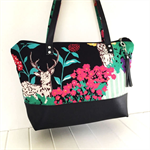 Tote Bag - Echino Fabric and Black Faux Leather with Zipper Closure