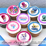 "Shimmer & Shine Personalised Edible Cupcake Toppers - 2"" - PRE-CUT Sheet of 15"
