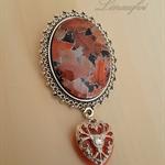 Large Oval Brooch - Brown Leaf Vintage Cabochon - Heart Charm - BR020