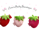 Strawberry Hair Clips * Set of 3 Clips * Red Pink * Baby Girl's *  Toddler * ZBB