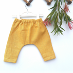 Baby harem pants, linen mustard boys or girls size approx 3-6mths