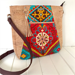 Tote Bag - Natural Cork and Aztec Fabric Bag with Zipper Closure and Tassel