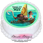 Moana Personalised Round Edible Icing Cake Topper - PRE-CUT