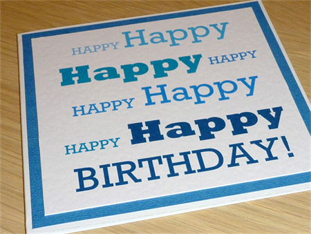 Male Happy Birthday card - blue text