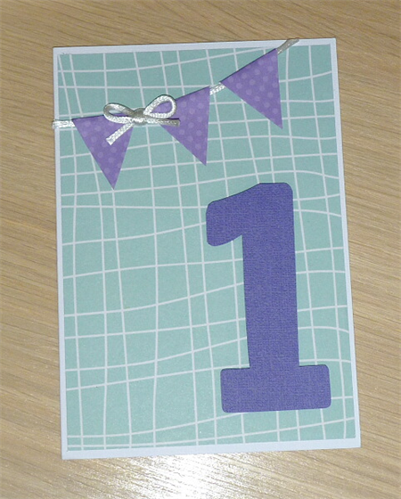 Boys or girls 1st Birthday card - green and purple
