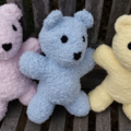 Teddy Bear. Small,  soft & snuggly, hand knitted. Baby shower, birth gift.