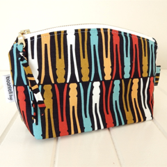 Make Up Pouch Purse with Retro Peg Fabric and Gold Metal Zipper Closure