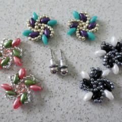Colourful Set of Beaded Post Earrings with Interchangable Jackets