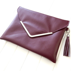 Clutch Purse in Maroon Faux Leather & Metal Trim with Tassel