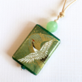 Handcrafted pendant in a gift card- olive cranes