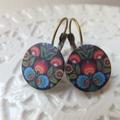Colourful Folk Art Print Earrings- bronze or silver nickel free hooks