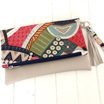Fold Over Clutch Purse with Faux Leather & Aboriginal  Fabric with a Tassel