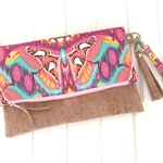 Fold Over Clutch Purse with Cork & Tula Pink Fabric with Strap & Tassel