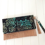 Fold Over Clutch Purse with Cork & Batik Fabric, Strap & Tassel