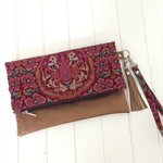 Fold Over Clutch Purse with Bronze Vinyl & Tula Pink Fabric with Strap & Tassel