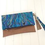 Fold Over Clutch Purse with Bronze Vinyl & Blue Marbled Fabric, Strap & Tassel