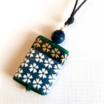 Handcrafted pendant in a gift card- indigo cherry blossoms