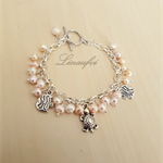 Cute Pearl Bracelet - Peach White - Freshwater Pearl, Sea Creature Charms - B022