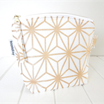 Make Up Pouch Purse with Metallic Gold Star Fabric and Gold Metal Zipper Closure