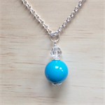 LONG SWAROVSKI AND AQUA BASICS ACRYLIC BALL PENDANT NECKLACE - FREE SHIPPING