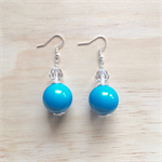 SWAROVSKI AND AQUA BASICS ACRYLIC BALL EARRINGS - FREE SHIPPING WORLDWIDE