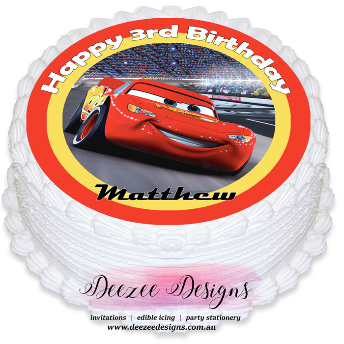 Cars Lightning McQueen Personalised Round Edible Cake Topper PRE