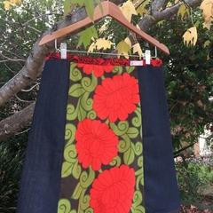 Vintage Red flowers & denim, A line skirt