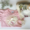 Baby girls shabby chic onesie, with vintage lace doily, chiffon rose pink