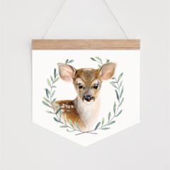 Wall Banner - Baby Deer in leaf wreath. Wall hanging.